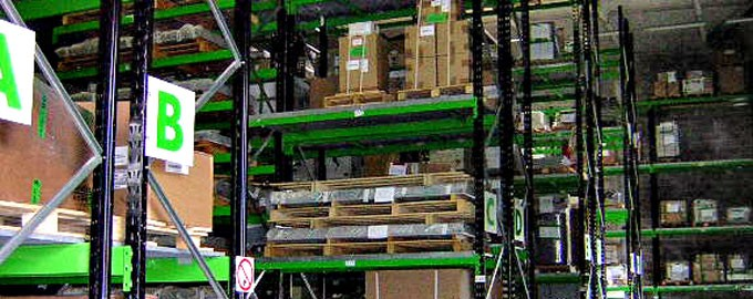 Storage racks and pallet truck