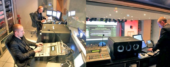 Management amphitheater with audiovisual control