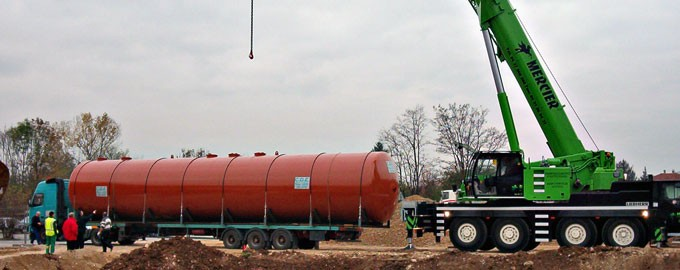 Transport of industrial tanks