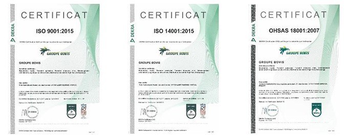 Certifications ISO 9001 / ISO 14001 / OHSAS 18001