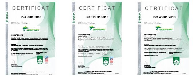Une démarche QSE couronnée de succès, avec l'obtention de Certificats