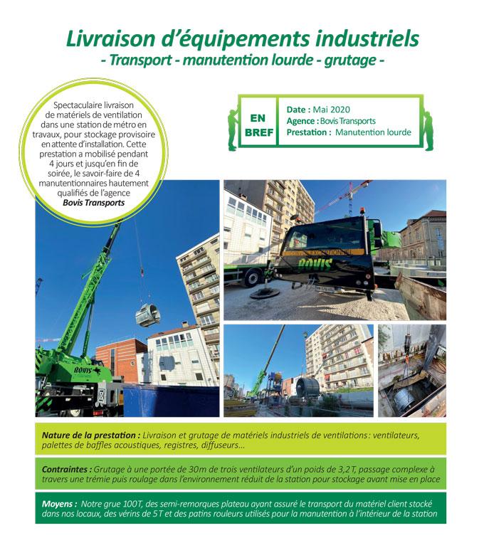 Manutention lourde et délicate, et grutage complexe de matériels de ventilation industrielle par Bovis Transports