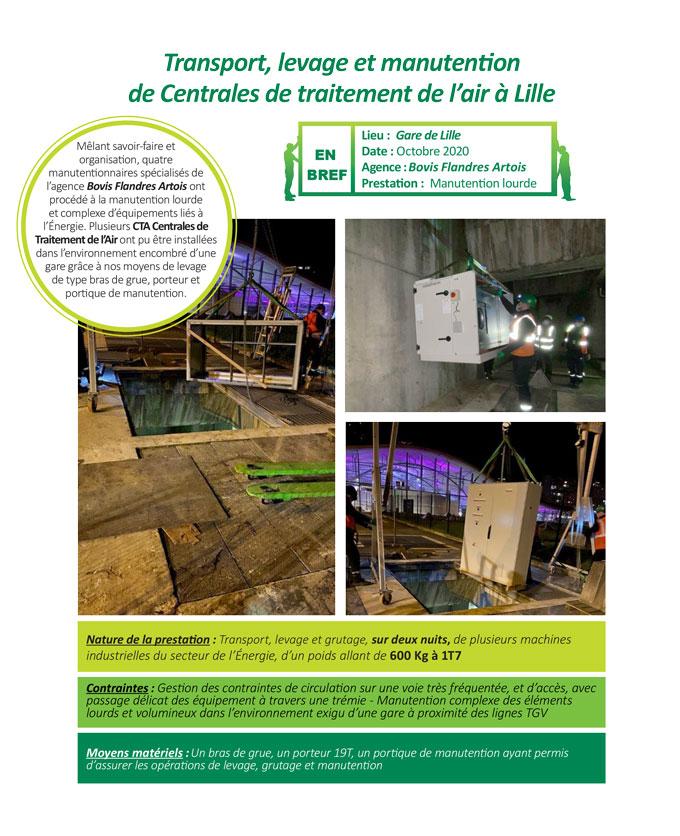 Entreprise de levage grutage manutention de machines industrielles liées à l'Énergie à Lille par Bovis Flandres Artois