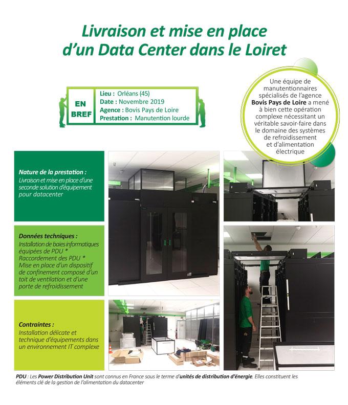 Manutention lourde d'un data center et mise en place des système de ventilation et de refroidissement par Bovis Pays de Loire