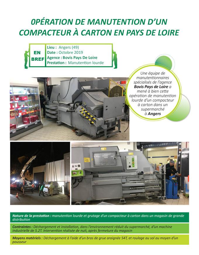 Manutention de machine outil dans une grande surface en pays de Loire par Bovis Pays de Loire