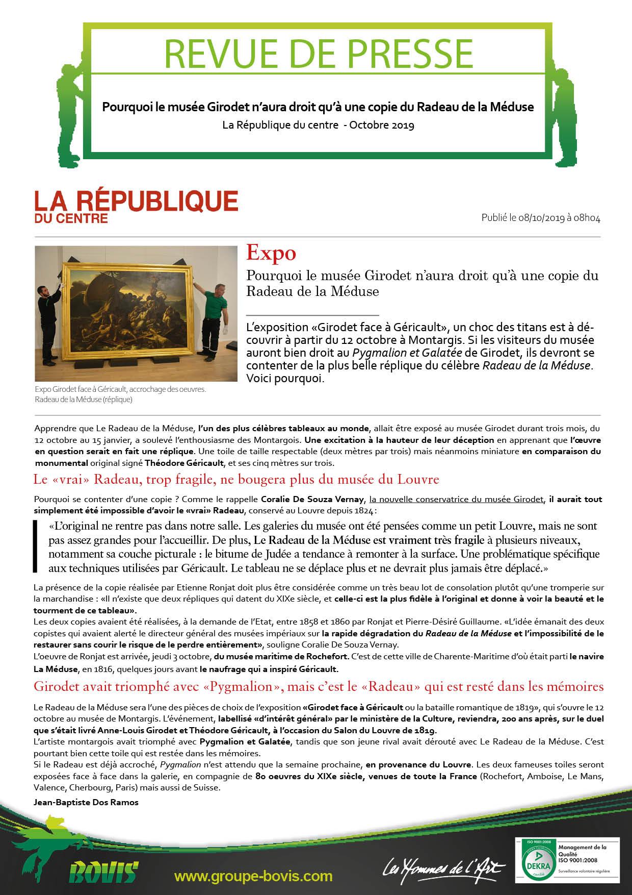 Installation de tableaux au Musée Girodet par Bovis Fine Art