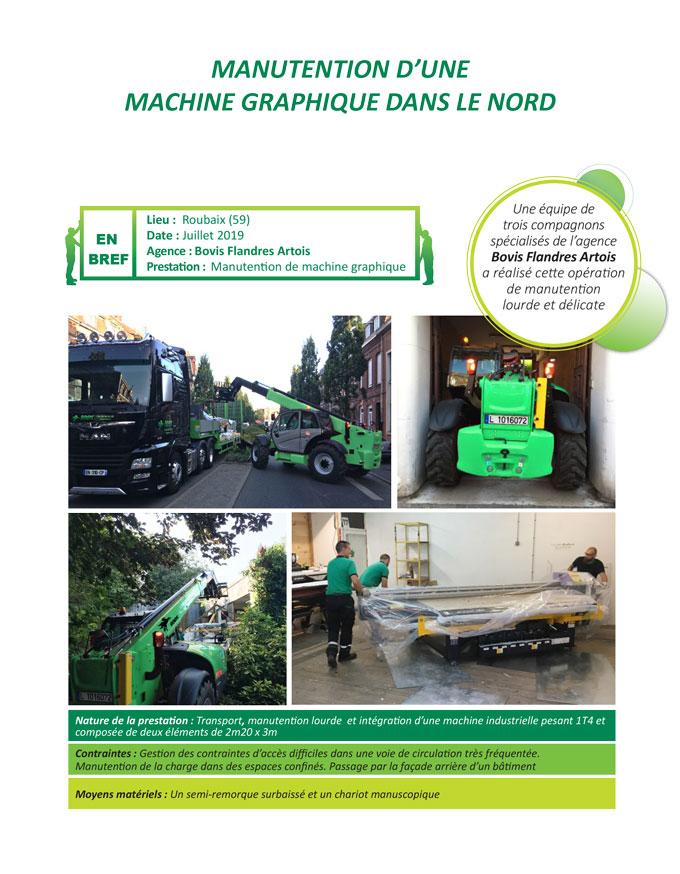 Transport, déchargement et installation d'équipements d'imprimerie par Bovis Flandres Artois