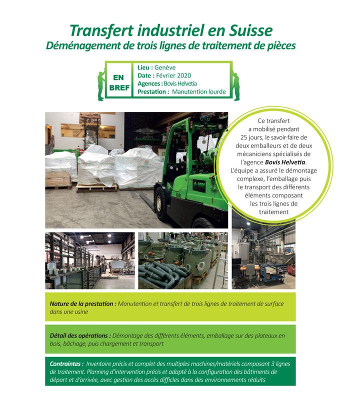 Transfert industriel clé en main dans une usine de traitement de surface par l'agence Bovis helvetia