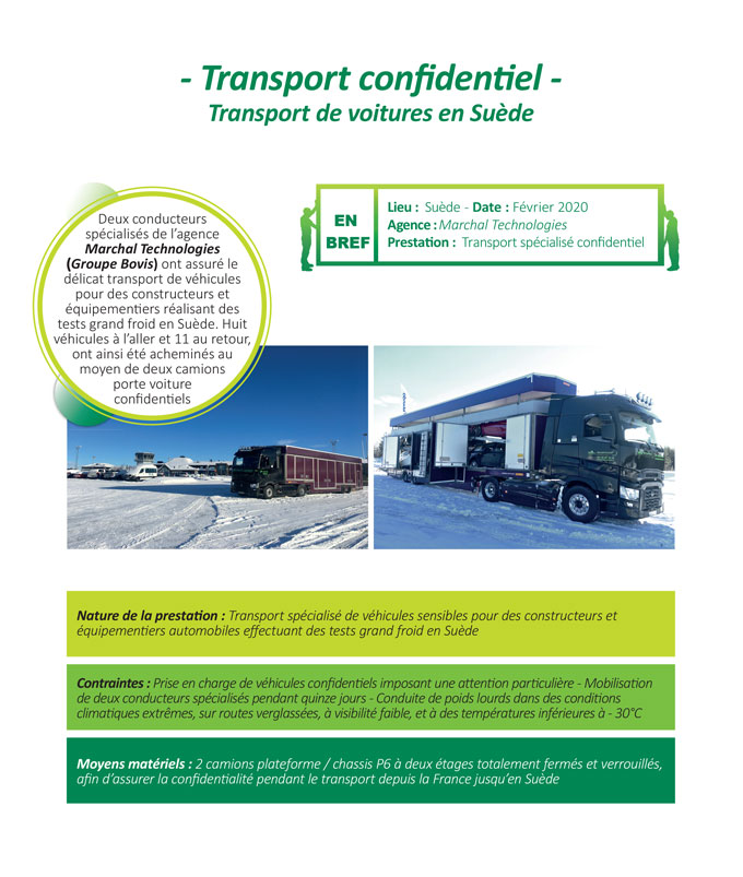 Transport spécialisé en porte voitures confidentiel en Suede par Marchal Technologies du Groupe Bovis