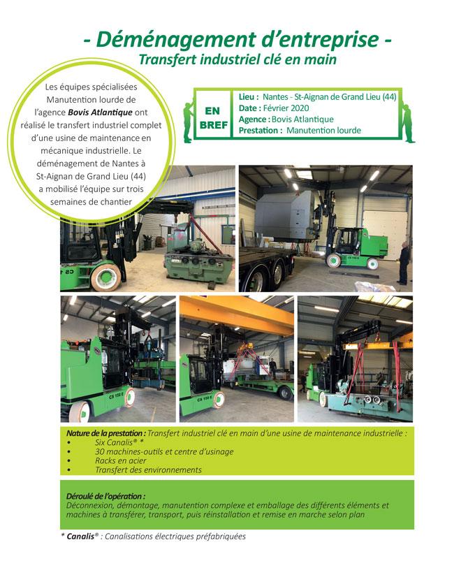 Transfert industriel clé en main dans une usine de maintenance en mécanique industrielle par l'agence Bovis Atlantique