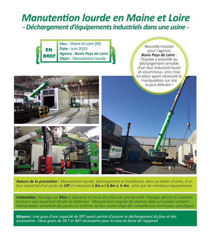 Manutention lourde d'une machine industrielle dans une usine du Maine et Loire par Bovis pays de Loire