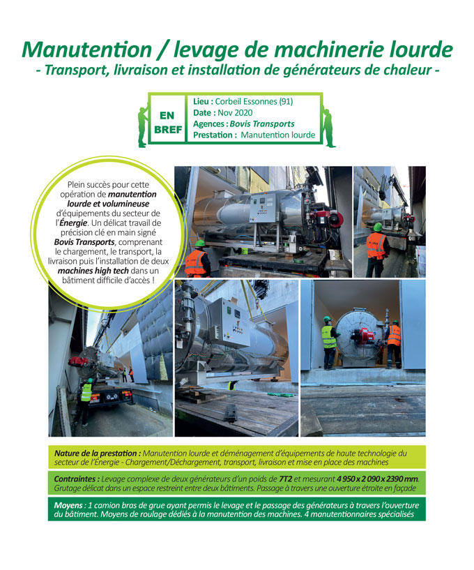 Manutention de machines industrielles de gros tonnage en Ile de France