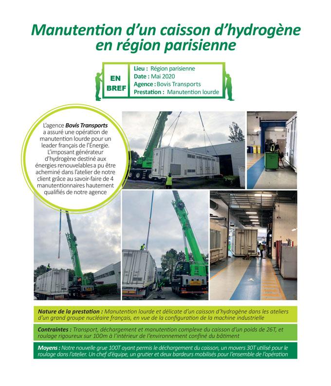 Manutention lourde et délicate d'un caisson d'hydrogène dans les ateliers d'un leader français de l'énergie par Bovis Transports