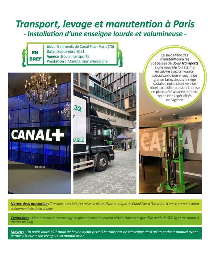 Livraison spécialisée et mise en place de panneau signalétique à Paris par Bovis Transports