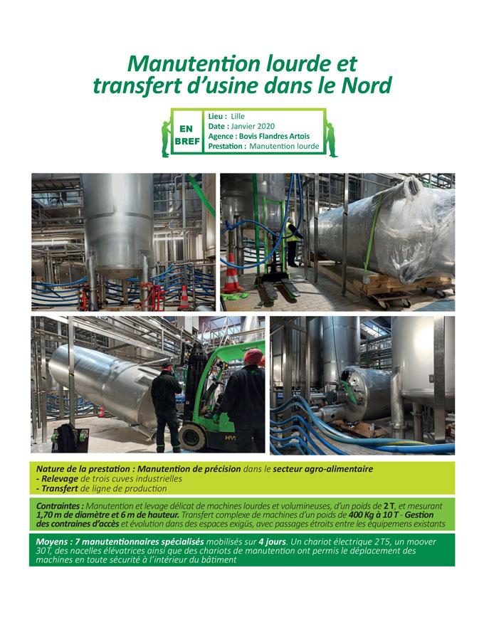 Transfert de machines high tech dans l'agro-alimentaire par Bovis Flandres Artois