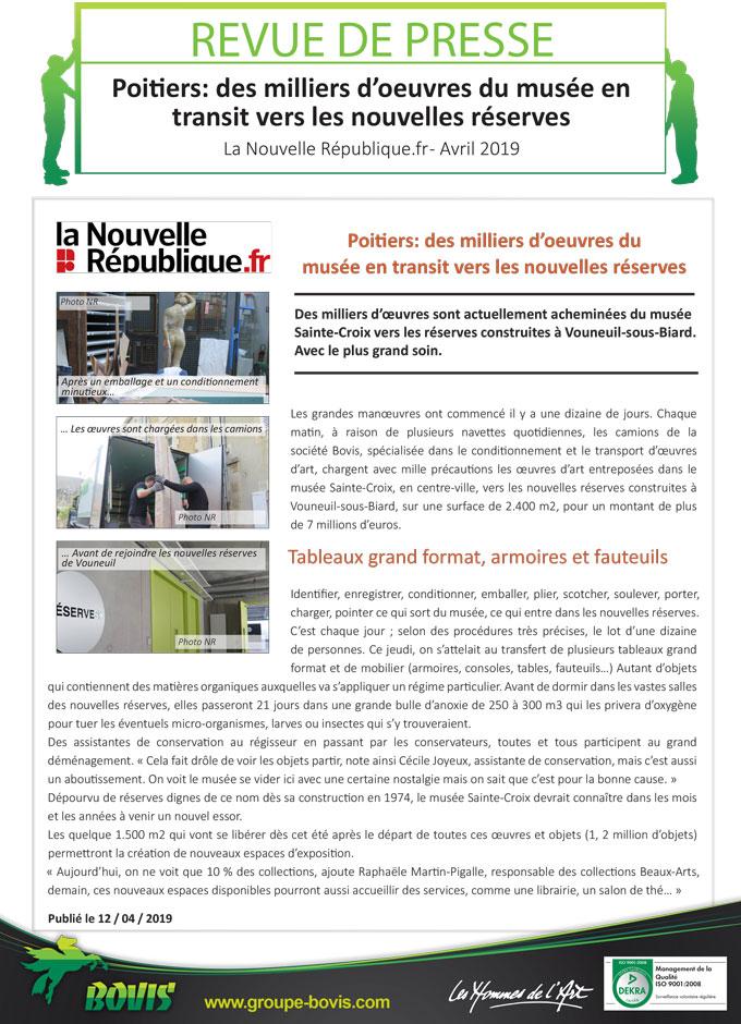 Transfert de collections du Musée Sainte Croix à Poitiers par le Groupe Bovis
