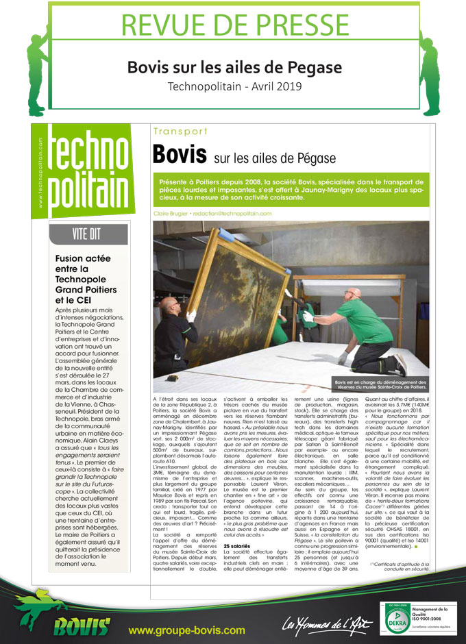 déménagement des collections du Musée Sainte Croix à Poitiers par le groupe Bovis