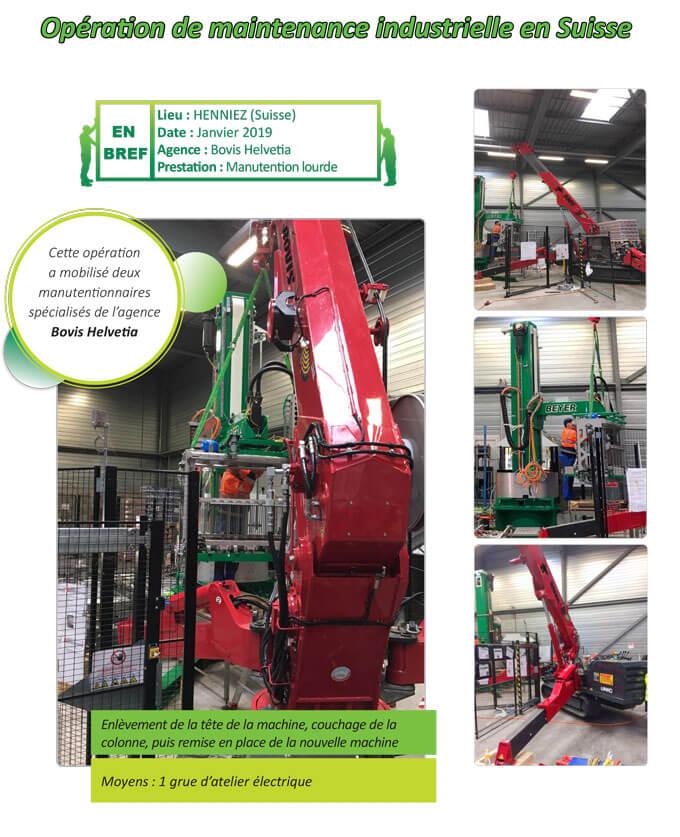 Remplacement et manutention d'une machine industrielle à Henniez