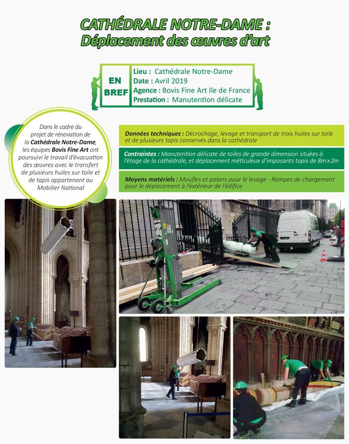 Les équipes Fine Art du Groupe Bovis poursuivent les travaux d'évacuation des collections présentes dans la Cathédrale Notre Dame