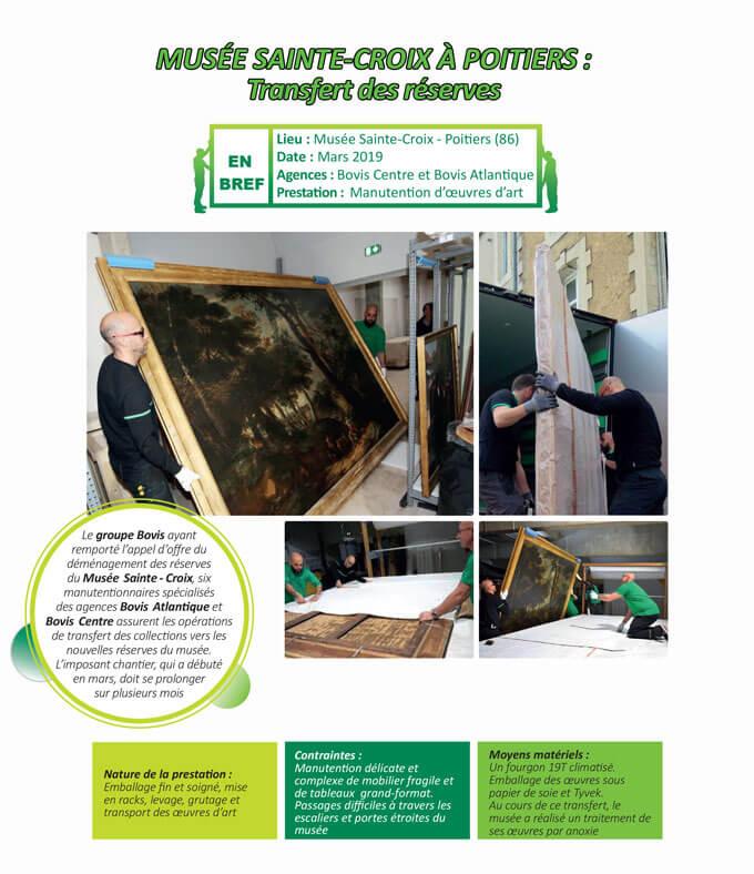 Manutention fine et délicate et transfert vers les réserves des collections du Musée Sainte Croix à Poitiers