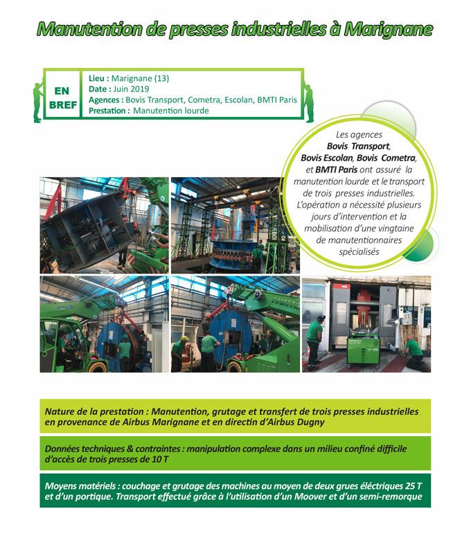 Opération de transfert, manutention et centre d'usinage de presses industrielles pour Airbus