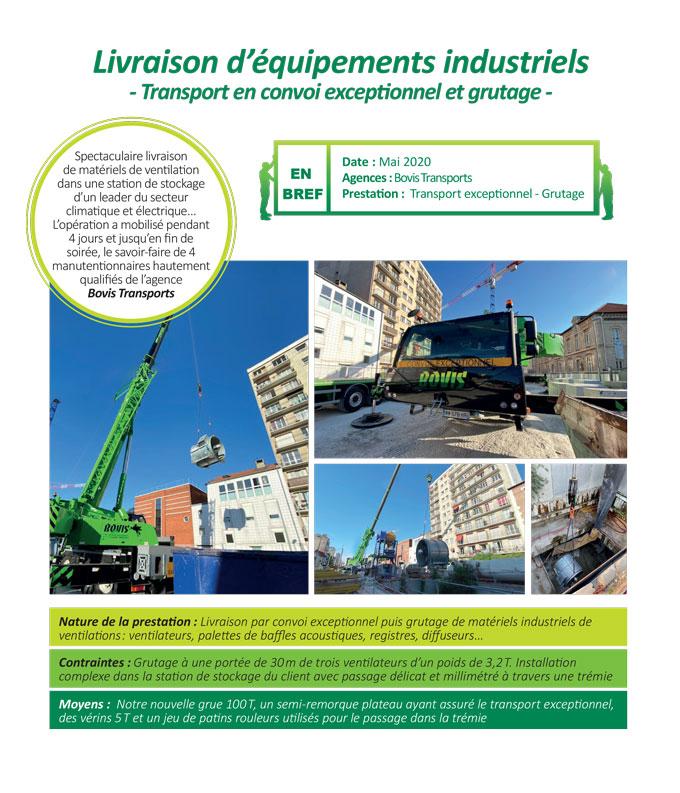 Transport exceptionnel et grutage complexe de matériels de ventilation industrielle par Bovis Transports