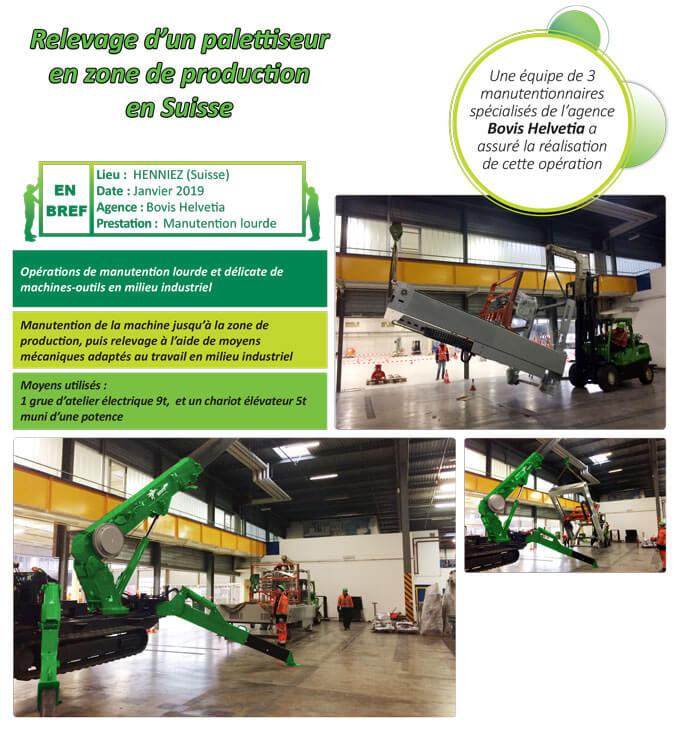 Manutention lourde et délicate de machines-outils en zone de production