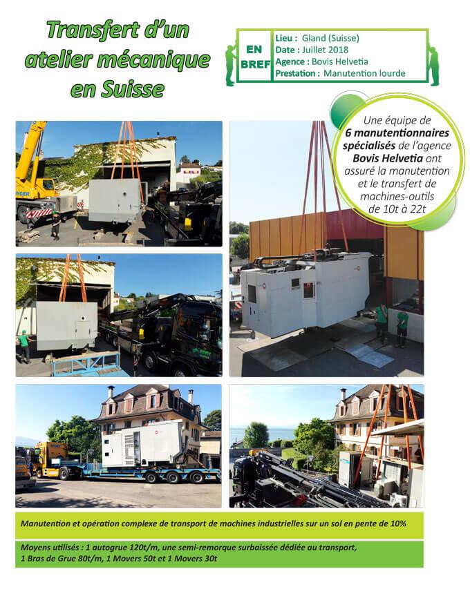 Transfert exceptionnel de machines-outils à Gland en Suisse