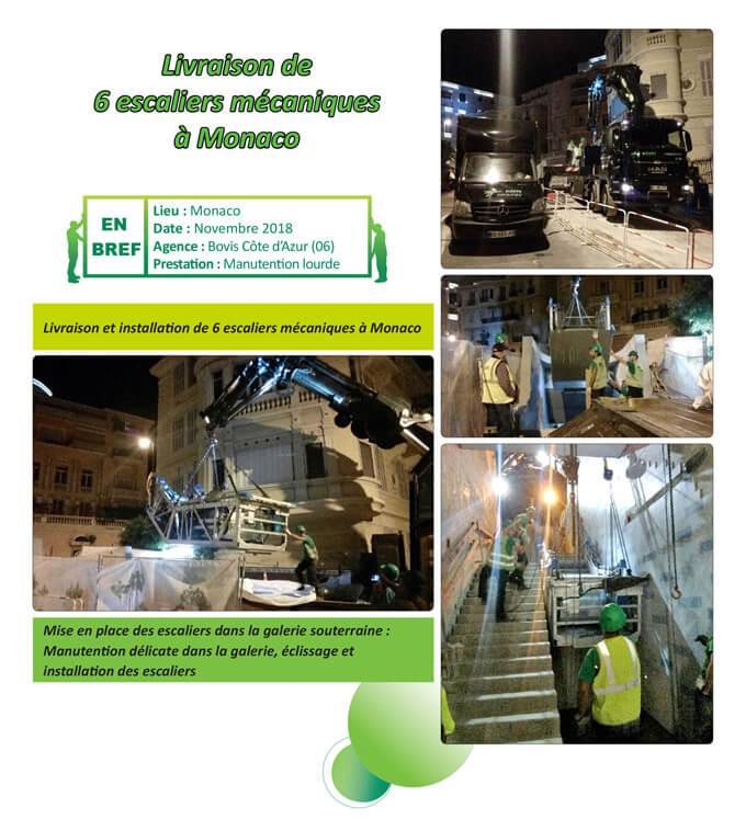 Livraison de 6 escaliers mécaniques à Monaco BOVIS