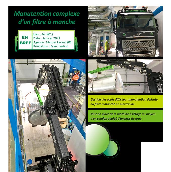 Manutention complexe d'un filtre à manche