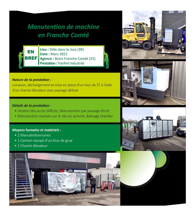 Manutention de machine en Franche Comté