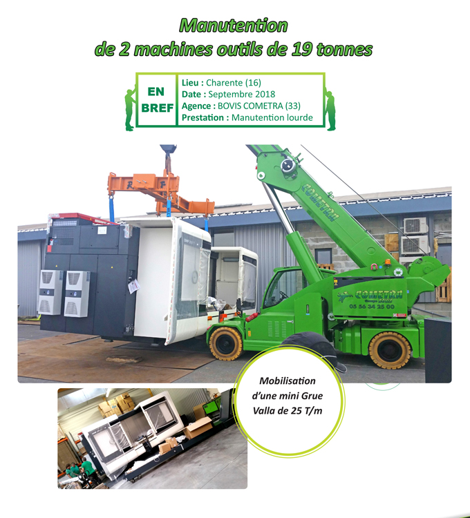 Manutention de 2 machines outils de 19 tonnes Cometra
