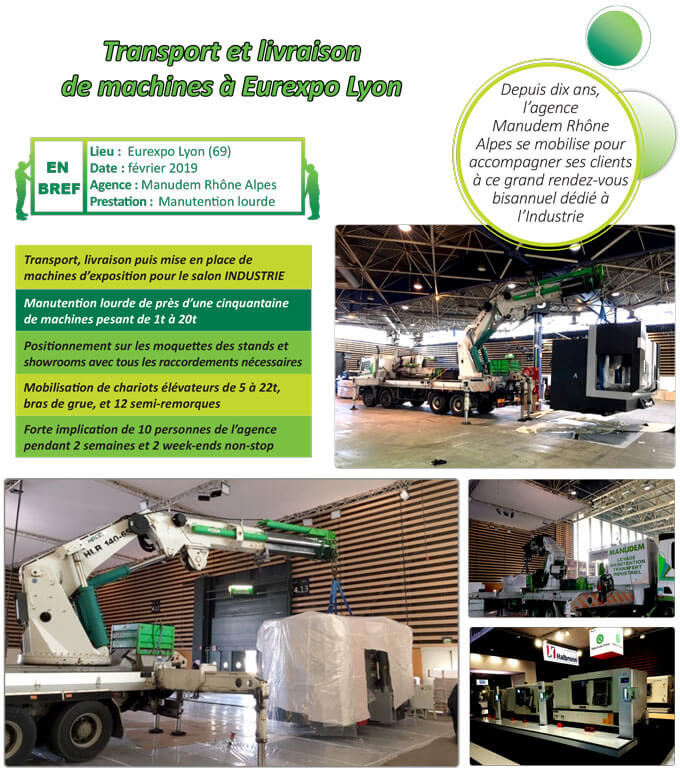 Mise en place de machines au salon Industrie à Lyon