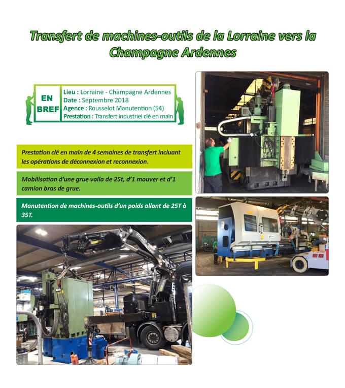 Manutention de machines-outils d'un poids allant de 25T à 35T.