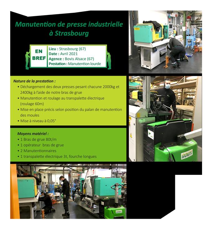 Manutention de presse industrielle en Alsace
