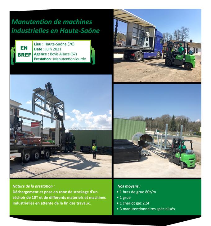 Manutention de machines industrielles en Haute-Saône
