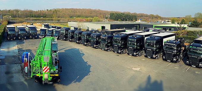 Parc de véhicules à Bovis transports, agence du Groupe Bovis