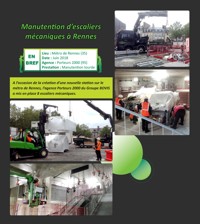 Manutention d'escaliers mécaniques à Rennes Porteurs 2000 Groupe BOVIS