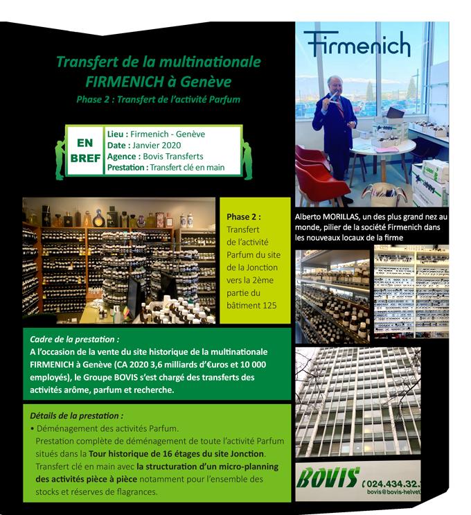 Transfert de la multinationale FIRMENICH à Genève Phase 1 : Transfert de l'activité arôme