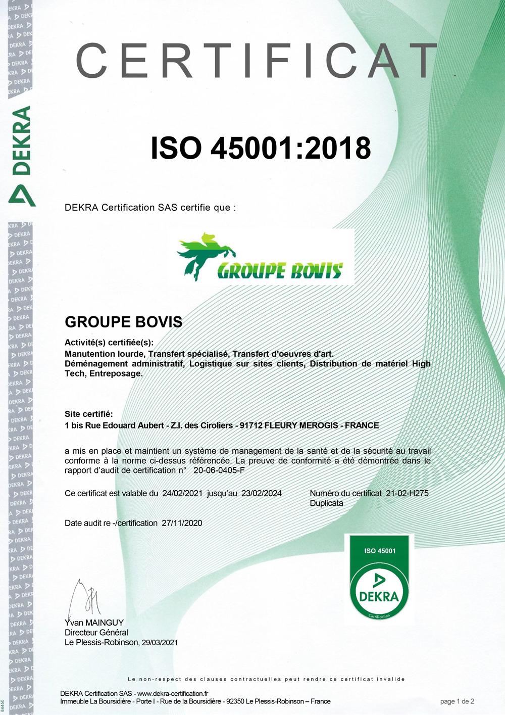 Certification OHSAS 18001