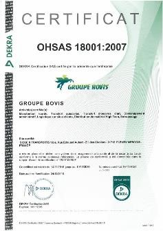 Certification OHSAS 18001