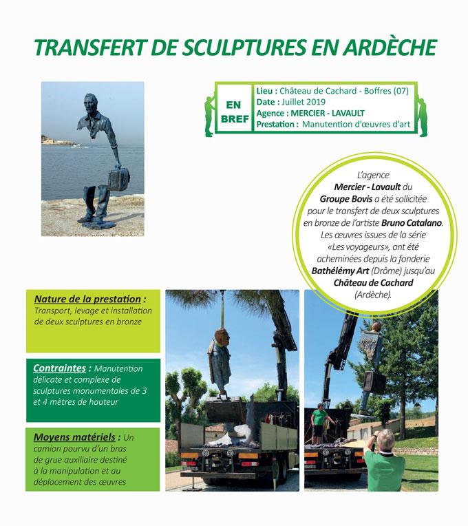 transport, manutention délicate et installation soignée d'œuvres d'art au Château de Cachard