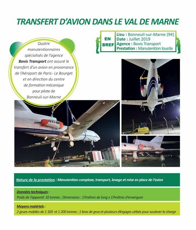 Transfert exceptionnel d'avion, manutention complexe sur charge lourde et volumineuse