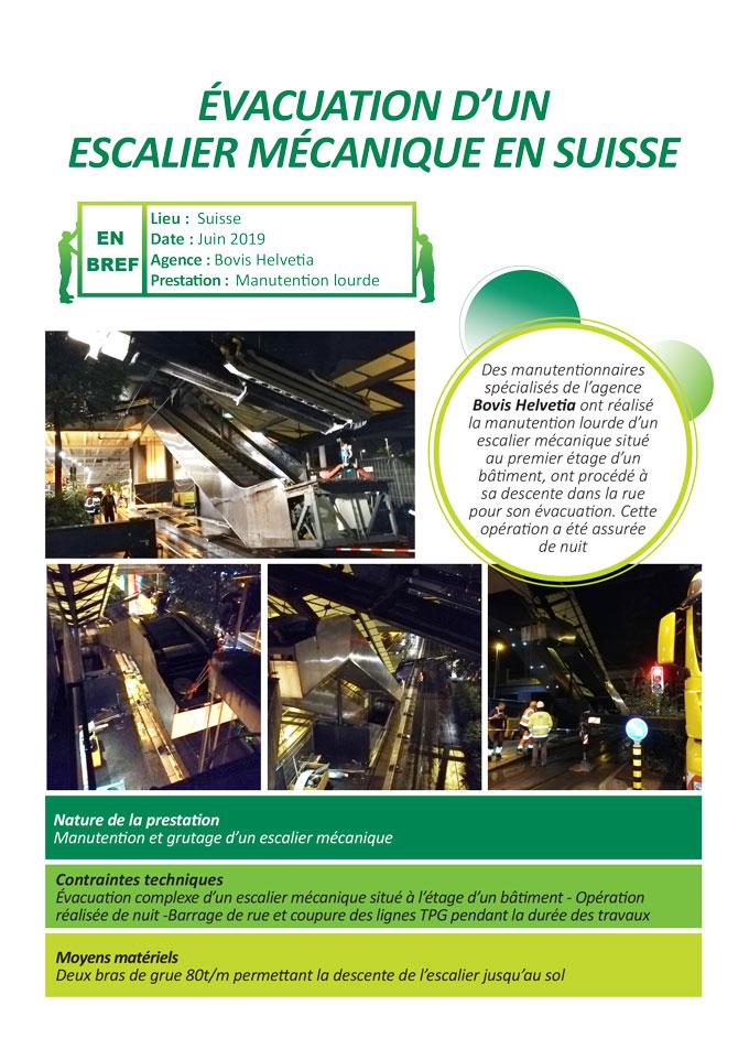 Manipulation complexe d'un escalier mécanique, grutage et évacuation. Réalisé par l'agence Bovis Helvetia