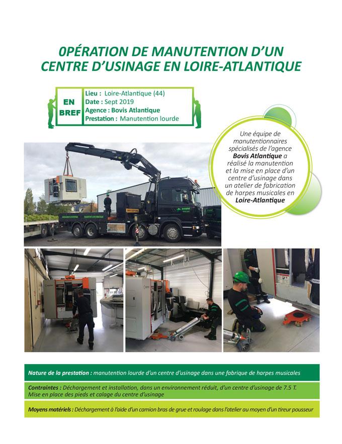 Installation et manutention lourde d'une centre d'usinage dans un atelier de harpes musicales en Loire-Atlantique