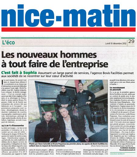 D c 12 bovis facilities sophia antipolis 06 dans le journal nice matin - Le journal de l agence ...