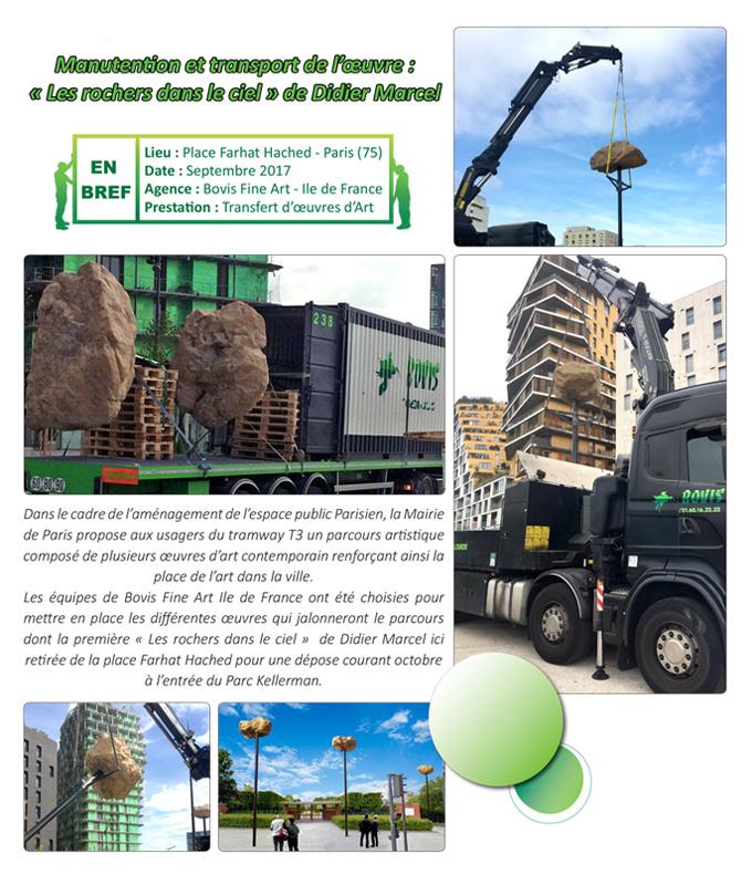 Manutention et transport de l'oeuvre les Rochers dans le ciel de Didier Marcel